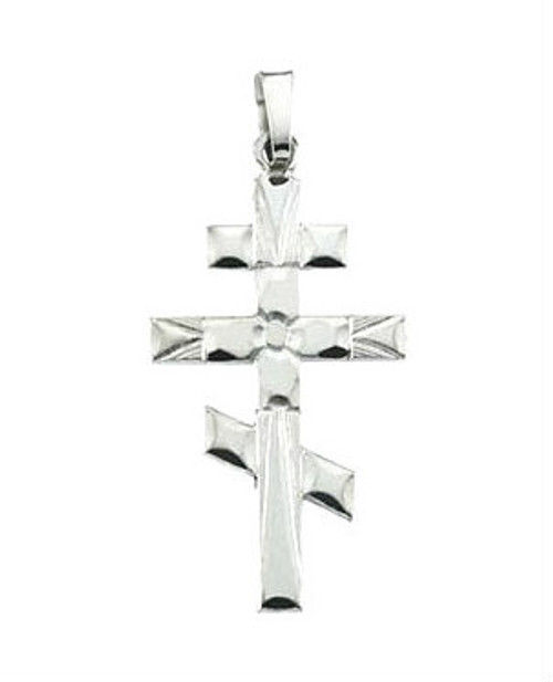 "14KWG Classic 3-Bar Cross: Starburst:  3/4"""