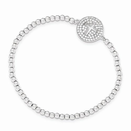 Sterling Silver Polished Beaded CZ Cross Stretch Bracelet
