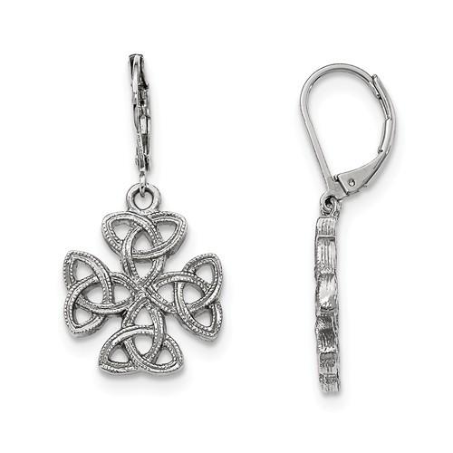 Silver-tone Celtic Trinity Cross Leverback Earrings
