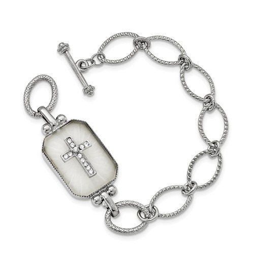 Silver-tone Crystal Frosted Glass 7in Cross Bracelet
