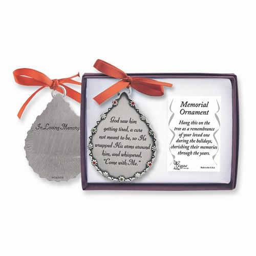 Engravable Pewter Memorial Teardrop Ornament