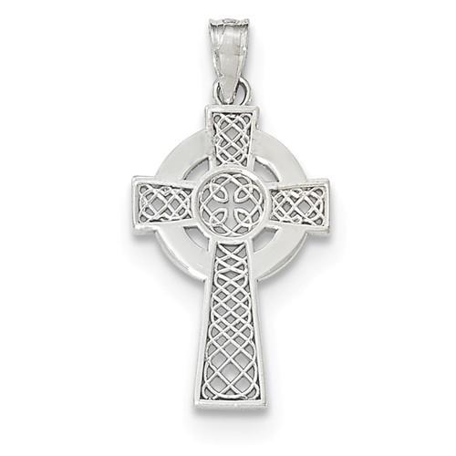 "14KWG Polished Celtic Cross Pendant- 1 1/8"""