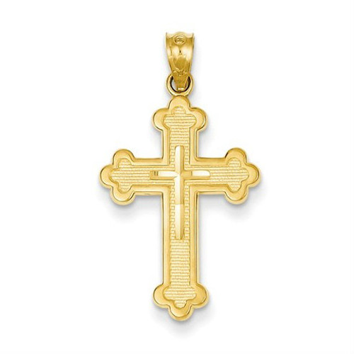 14KT Brilliant Cut Budded Cross Pendant- 1 1/8""