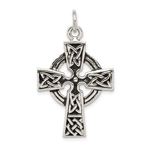 "Sterling Silver Antiqued Celtic Cross - 1 1/4"""