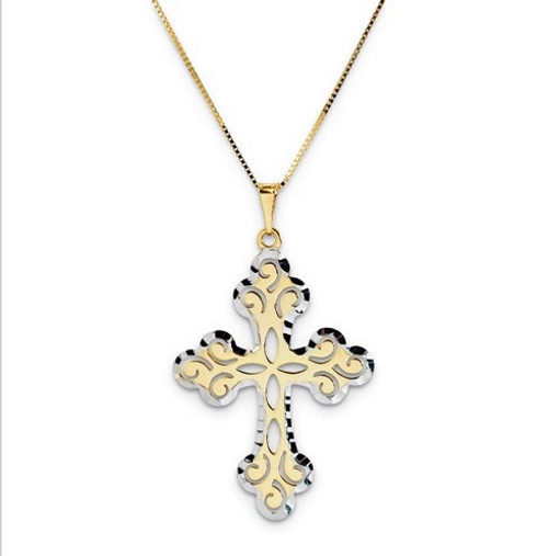 14K Yellow Scroll Cross w/Rhodium Accent with 18in Box Chain