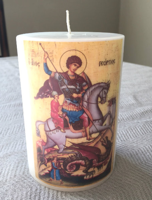 St. George Hand-dipped Icon Pillar Candle: 3 Sizes Available!