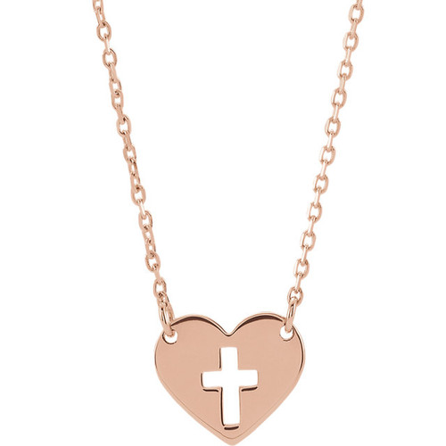 14KRG 10mm Pierced Cross Heart Pendant with Chain