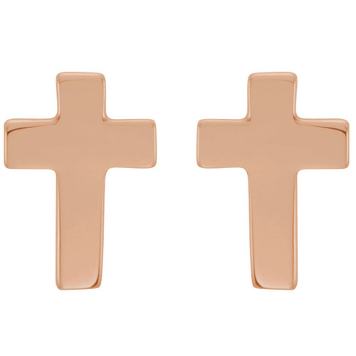 14K Rose Gold Cross Earrings