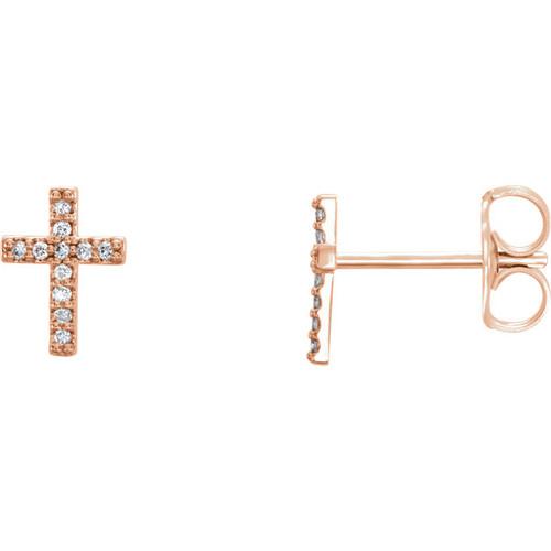 14K Rose Gold .06 CTW Diamond Cross Earrings