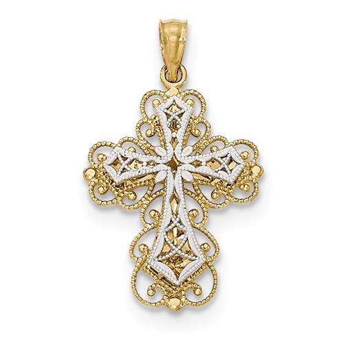 "14K Yellow & White Gold Polished Stacked Filigree Cross Pendant- 1 1/16"""