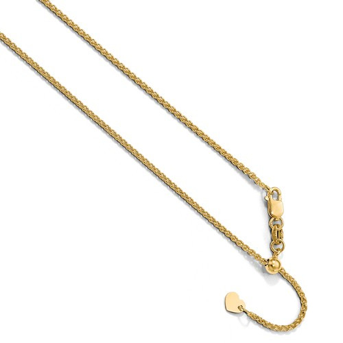 """10KT 1.35 MM Spiga (Wheat) Chain- Adjustable Lengths to 22"""""""