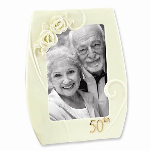 50th Wedding Anniversary Pearl Rose Photo Frame