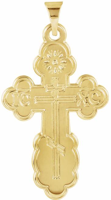 14KT St. Olga Style Cross- Medium (Inscribed)