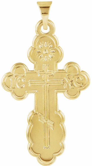 14KT St. Olga Style Cross- Small (Inscribed)