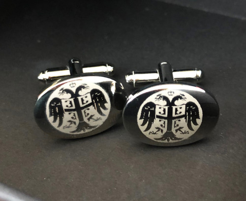 Laser Engraved Silver Cross Cuff Links