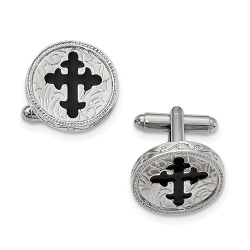 Silver-Tone Black Byzantine Cross Cufflink Set