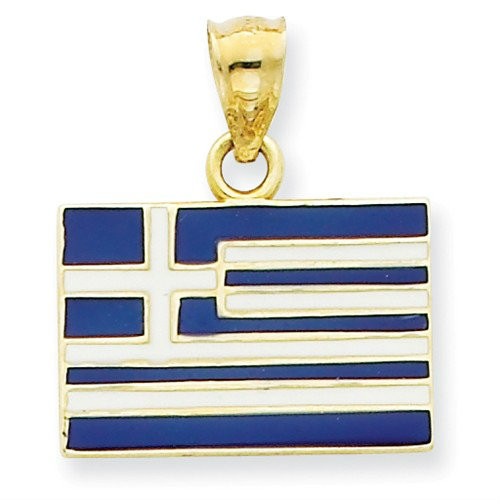 14KT Solid Enameled Greece Flag Pendant
