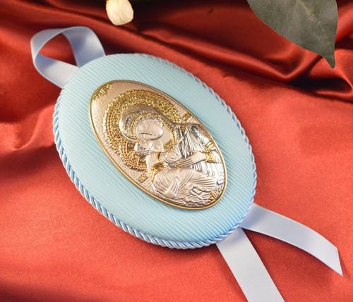 Our Lady of Vladimir Hanging Crib Icon: Blue