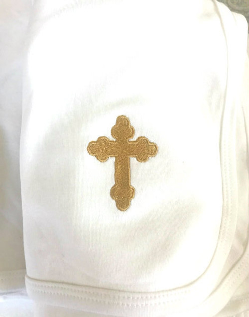 Soft White Knit Baptismal Blanket with Embroidered Cross- IN STOCK!