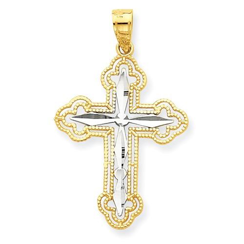 "10KT and Rhodium Byzantine Cross Pendant- 1"""