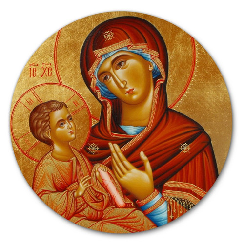 """Standing 6"""" Icon of the Theotokos with Magnetic and Easel Back"""