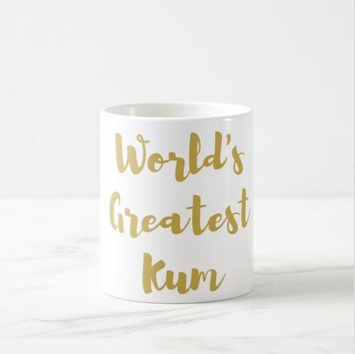 World's Greatest Kum Coffee Mug in Gold or Silver Metallic Foil