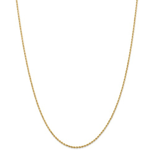 14KT 1.5MM Diamond-Cut Rope Chain- 14""