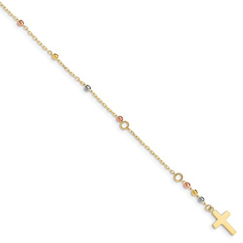 14KT Tri-Colored Gold Diamond Cut Beaded Cross Bracelet
