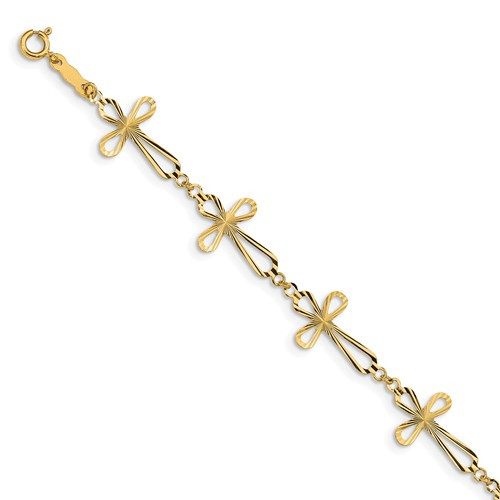 "14KT Diamond Cut Open Cross 7 1/2"" Bracelet"