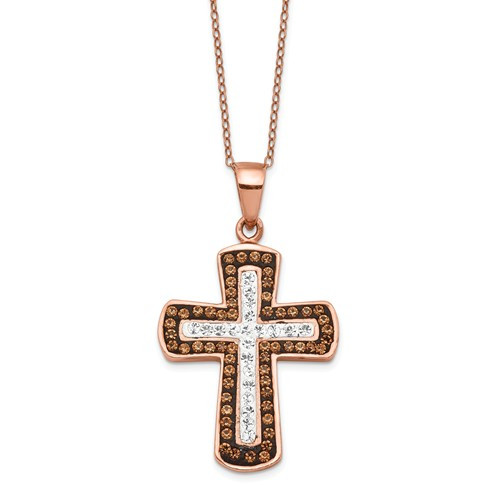 """Sterling Silver Rose Gold Plated Crystal 1"""" Cross & Chain"""