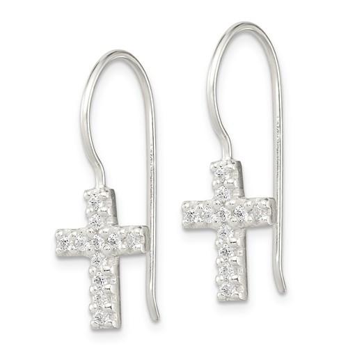 Sterling Silver CZ Cross Shepherd Hook Earrings