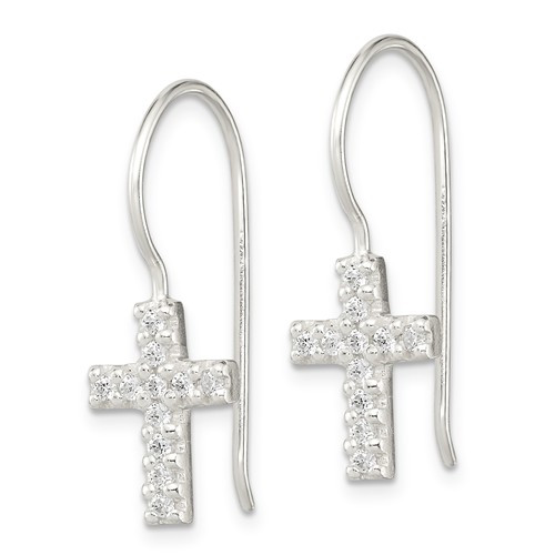 Sterling Silver CZ Cross Shepherd Hook Earrings