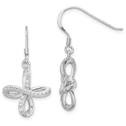 Sterling Silver Rhodium-plated Diamond Cross Shepherd Hook Earrings