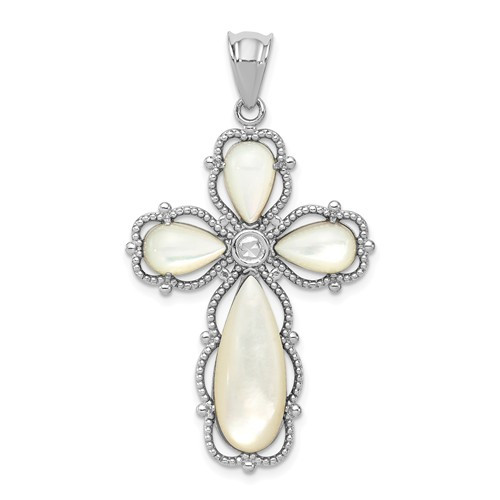 Sterling Silver Rhodium-plated Mother of Pearl Cross Pendant: 1 1/2""