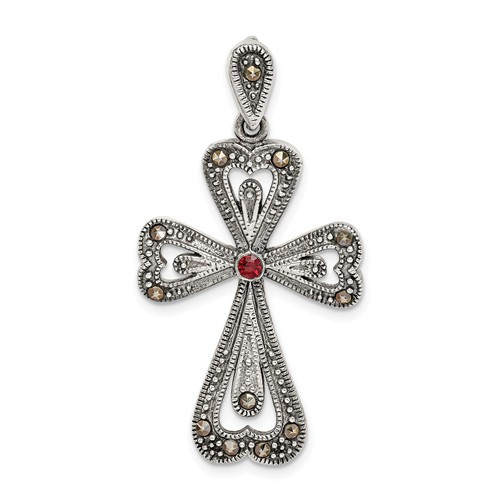 Sterling Silver Antiqued Marcasite and Garnet Cross Pendant- 1 1/4""