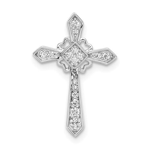 "Sterling Silver Rhodium-Plated CZ Cross Pendant- 7/8"""