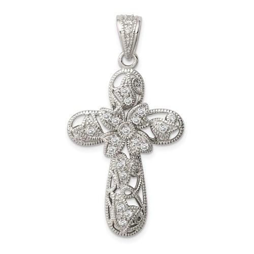 "Sterling Silver CZ Cross Pendant- 1 1/8"""