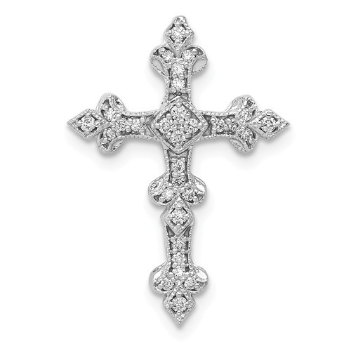 14KT White Gold Diamond Filigree Cross Pendant- 7/8""