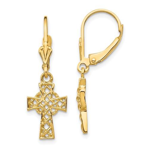 14KT Lace Polished Cross Leverback Earrings