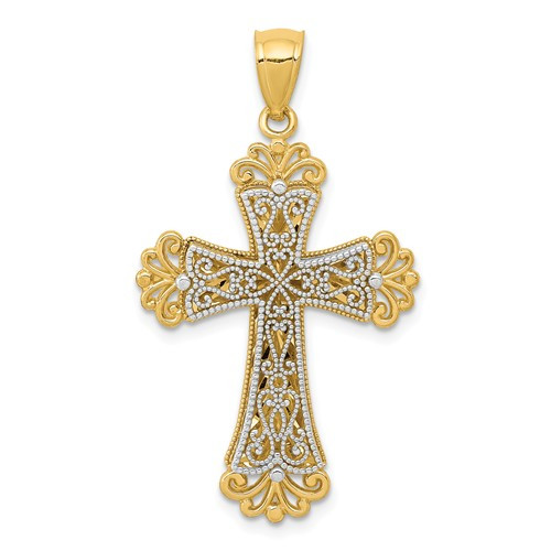 14KT Yellow and White Gold Polished 2-Level Budded Cross Pendant- 1""