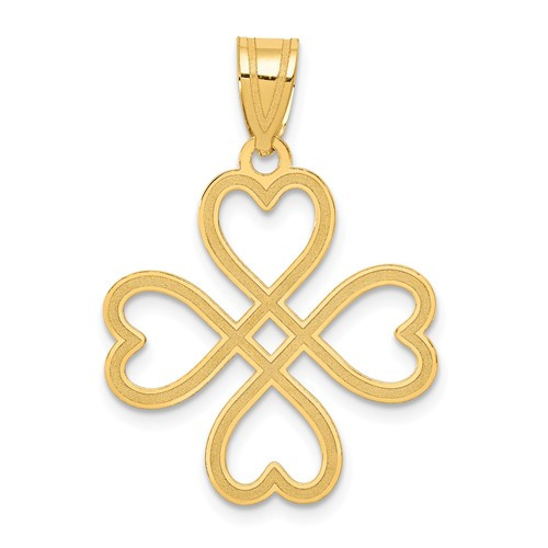 14KT Laser Cut Heart Cross