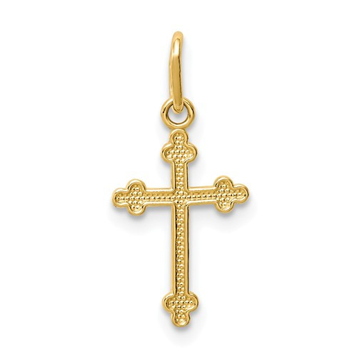 14KT Polished Delicate Budded Cross- 5/8""