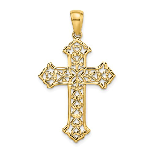 14KT Tipped Cross Pendant- 1 1/2""