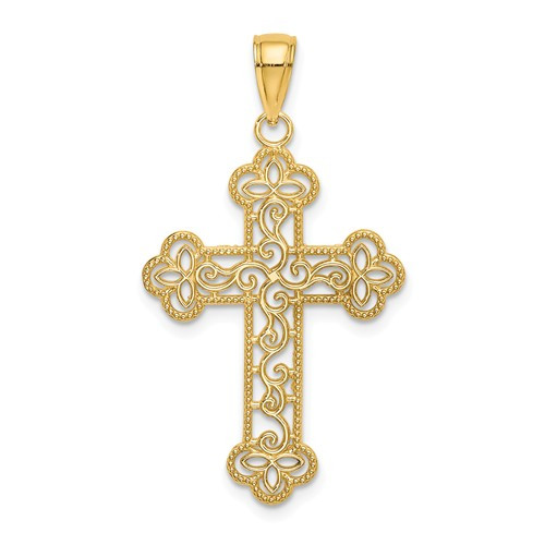 14K Byzantine Cross with Scroll Pattern and Beaded Edge- 1 1/2""