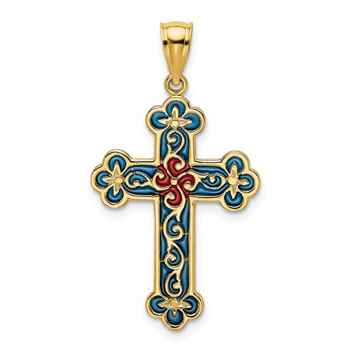 14KT Gold Blue and Red Byzantine Cross Charm- 1""
