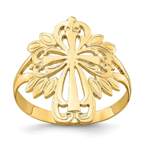 14K Yellow Gold Polished Cut-Out Cross Ring