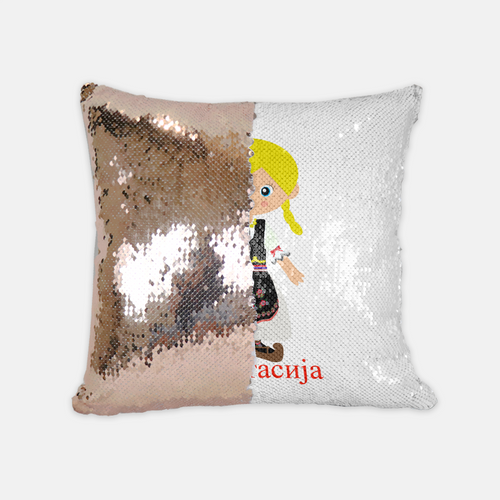 Personalized Sequins Pillow: Serbian Girl Dancer Design
