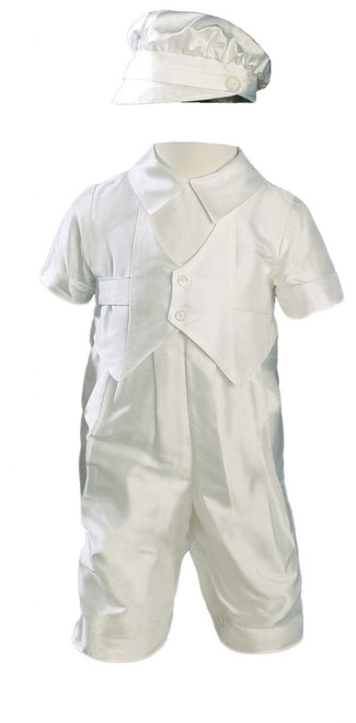 Boys Silk Dupioni Vested Baptism Coverall with Hat