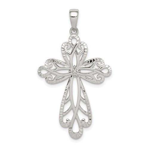 "Sterling Silver Diamond and Diamond-Cut Cross Pendant- 1 1/3"""