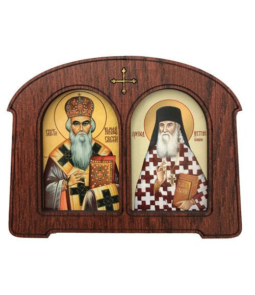 Framed Magnet: St. Nikolaj Srpski (Velimirovic) & St. Justin (Popovic)